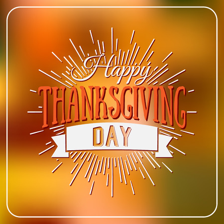 thanks giving: Happy Thanksgiving Day logotype, badge and icon on colorful background. Thanksgiving Day card template. Happy Thanksgiving logo, banner, flyer, poster Illustration