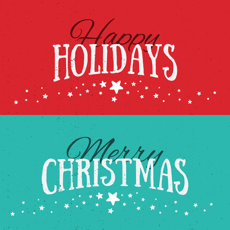 holiday greeting: Illustration of colorful banners with Happy Holidays and Merry Christmas lettering. Christmas calligraphy background. Vector banners. Xmas postcards. Illustration