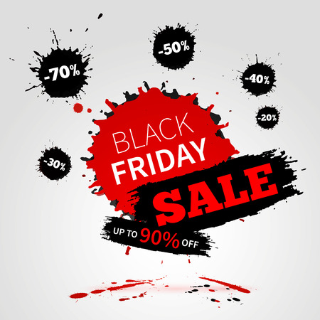 the label the market: Black Friday SALE poster for your business. Watercolor banner with ink splashes.  Vector illustration