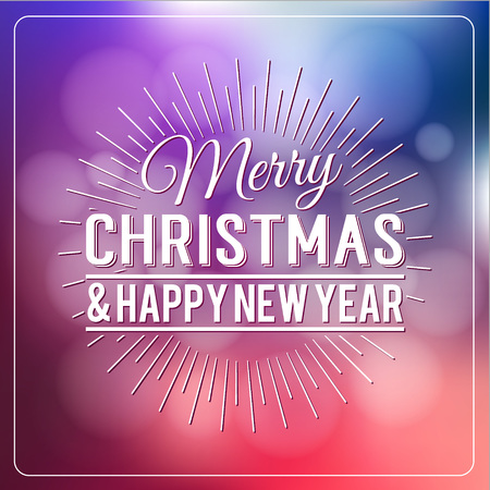 defocus: Merry Christmas and Happy New Year Calligraphic Design Label on defocus background. Holidays lettering for invitation, greeting card, prints and posters. Typographic design. Vector illustration.