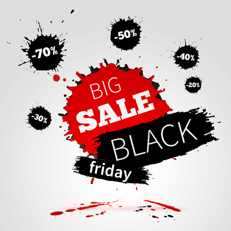 Black Friday SALE poster for your business. Watercolor banner with ink splashes.  illustration