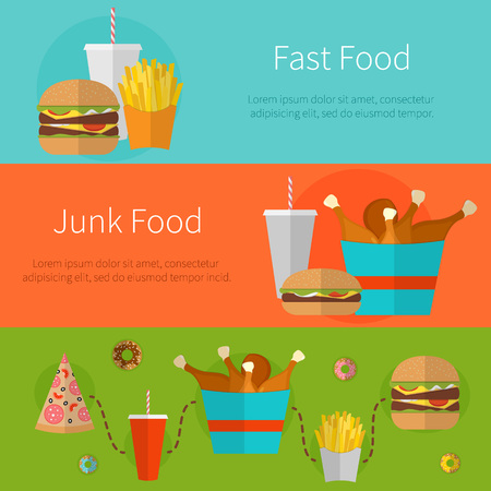 unhealthy food: Fast food banner design concept. Flat icons of junk food. Illustration of unhealthy food, diet or restaurant menu elements. Hamburger, cheeseburger, fried chicken, french fries, pizza, donut.