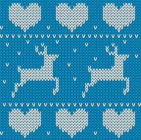 sueter: Blue Knitted deers sweater in Norwegian style. Knitted Scandinavian ornament. Vector seamless Christmas sweater pattern.