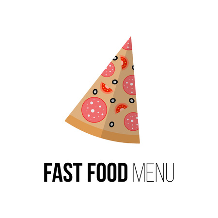 eating habits: Pizza vector concept. Design element for restaurant menu illustration or for logotype. Flat design of food. Diet and unhealthy eating habits illustration. Pizzeria advertising poster.