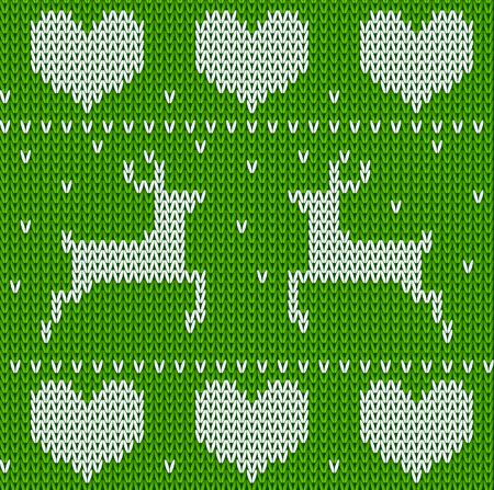 sueter: Ciervos de punto suéter verde en estilo noruego. De punto ornamento escandinavo. Vector sin patrón suéter de Navidad.
