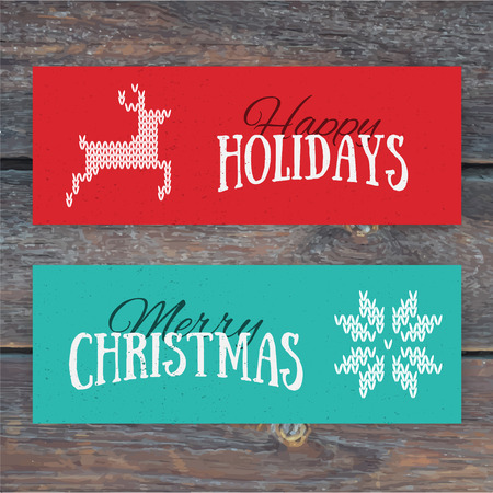 Illustration of colorful paper cards with Happy Holidays and Merry Christmas lettering. Christmas calligraphy on wood background. Vector banners. Xmas postcards. Knitted norwegian elements Illustration