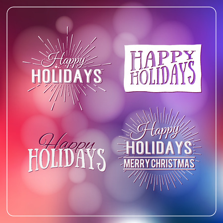 defocus: Happy Holidays Calligraphic Design Label on defocus background. Holidays lettering for invitation, greeting card, prints and posters. Typographic design. Vector illustration.