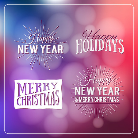 seasons of the year: Happy Holidays Calligraphic Design Label on defocus background. Holidays lettering for invitation, greeting card, prints and posters. Typographic design. Vector illustration.