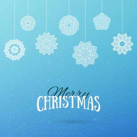 frost: Frost Christmas background with hanging mandala snowflakes. Merry Christmas and Happy New Year holiday background. Vector illustration