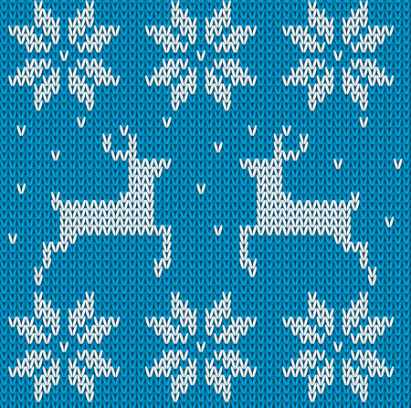 scandinavian christmas: Blue Knitted deers sweater in Norwegian style. Knitted Scandinavian ornament. Vector seamless Christmas sweater pattern.