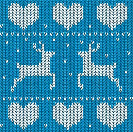 deer in heart: Blue Knitted deers sweater in Norwegian style. Knitted Scandinavian ornament. Vector seamless Christmas sweater pattern.