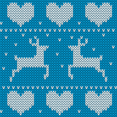 Blue Knitted deers sweater in Norwegian style. Knitted Scandinavian ornament. Vector seamless Christmas sweater pattern.