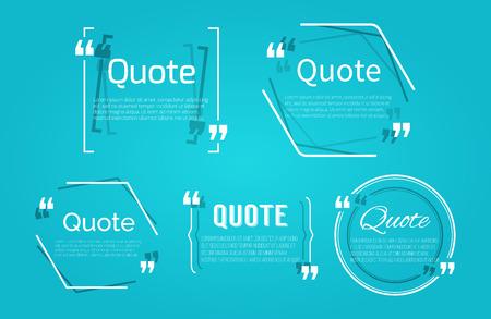 dialogo: Conjunto de piezas en bruto de la cita con la burbuja de texto con comas. Modelo del vector para la nota, mensaje, comentario. Caja de diálogo.