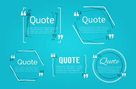 blanks: Set of Quote blanks with text bubble with Commas. Vector template for note,message, comment. Dialog box. Illustration