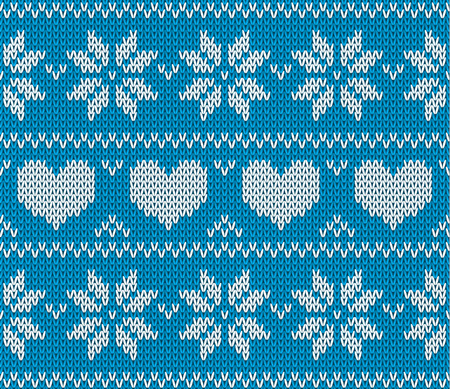 knitting: Blue Knitted stars and hearts sweater in Norwegian style. Knitted Scandinavian ornament.  Vector seamless Christmas sweater pattern.