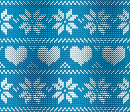 sueter: estrellas azules y corazones de punto suéter de estilo noruego. Ornamento hecho punto escandinavo. sin patrón suéter de la Navidad del vector. Vectores