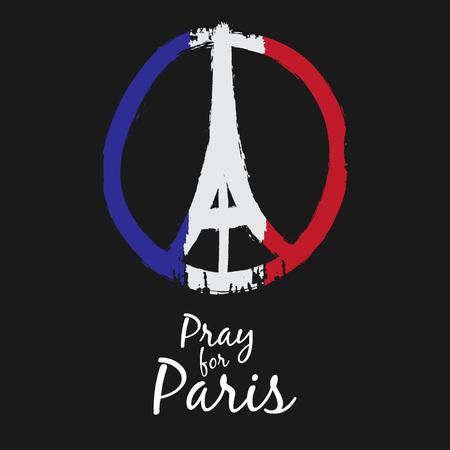 simbolo paz: Dibujado a mano alzada la paz boceto de París ilustración de manos rezar y la Torre Eiffel, la mano del doodle, Paz de París, ruega por París con la bandera de Francia Colores Vectores