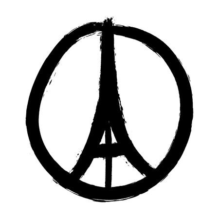 segno: Disegnato a mano libera schizzo per la pace di Parigi illustrazione delle mani pregare e Torre Eiffel, Parigi su sfondo bianco, disegnato Doodle mano, la pace per Paris, prega per Parigi