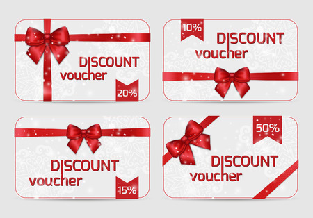 discount: Set of ornamental Discount Voucher Cards with Shiny holiday red satin ribbon bow on white lacy background. Vector Templates