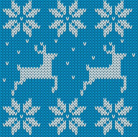 Ciervos De Punto Suéter Azul En Estilo Noruego. De Punto Ornamento ...