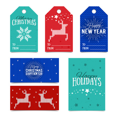 name tags: Colorful paper tags and name cards for presents with Happy Holidays, Merry Christmas and Happy New Year lettering. Vector banners. Xmas postcards. Knitted Norwegian elements