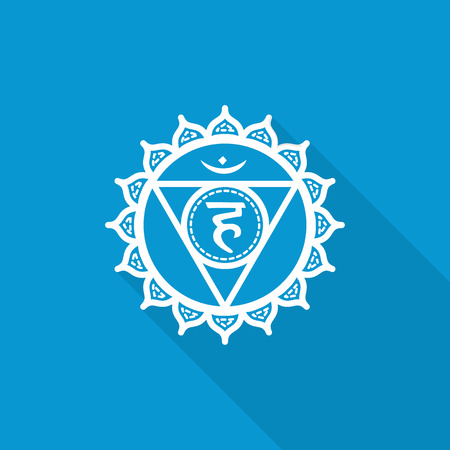 chakra: Vishuddha. Beautiful indian ornamental 7 chakras collection. Vector illustration. Color yoga chakra flat icon with long shadow. 7 chakra mandalas.