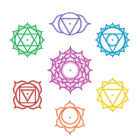 chakra energy: Isolated Set of beautiful indian ornamental 7 chakras. Vector illustration. Color yoga chakra icons isolated on white. 7 chakra mandalas.