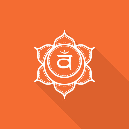 svadhisthana: Svadhisthana.  Beautiful indian ornamental 7 chakras collection. Vector illustration. Color yoga chakra flat icon with long shadow. 7 chakra mandalas.