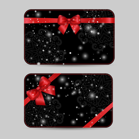 black art: Set of ornamental Card Templates with Shiny holiday red satin ribbon bow on dark black lacy background with snow. Vector template for greetings, invitations, cards, vouchers, gift cards