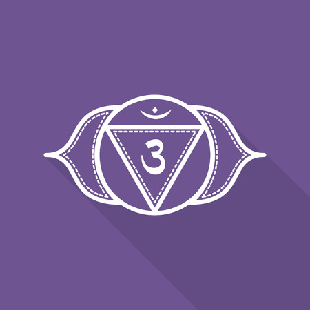 ajna: Ajna.  Beautiful indian ornamental 7 chakras collection. Vector illustration. Color yoga chakra flat icon with long shadow. 7 chakra mandalas. Illustration