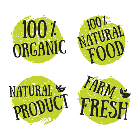 qualities: Eco icon with leaf, vector bio sign on watercolor stain with watercolor spots. Vector banner 100% natural organic concept with leaves. Watercolor poster with natural organic food concept. Illustration