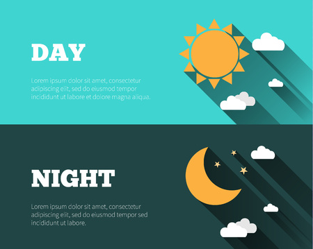 night moon: Sun, moon and stars, clouds icons. Day and night sky vector banners. Flat style illustration with long shadows. Day time concept posters.
