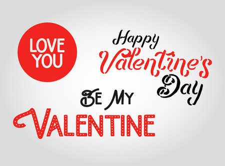 valentine card: Happy Valentines day lettering isolated on white background. Valentine   elements for your card design. Vector Valentines Day Collection.