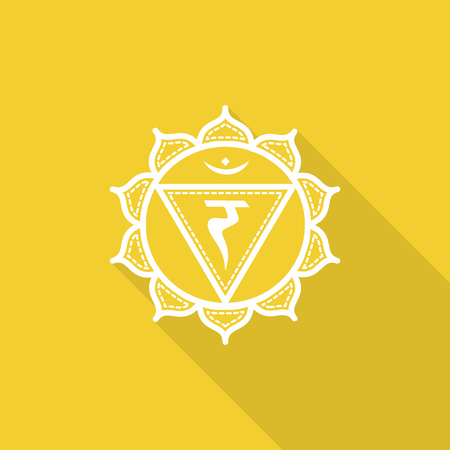 manipura: Manipura.  Beautiful indian ornamental 7 chakras collection. Vector illustration. Color yoga chakra flat icon with long shadow. 7 chakra mandalas.