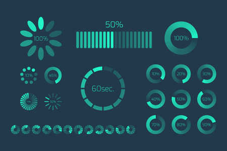 application software: Futuristic Progress loading bar. Set of indicators. Download progress, web design template, interface upload. Vector illustration. Illustration
