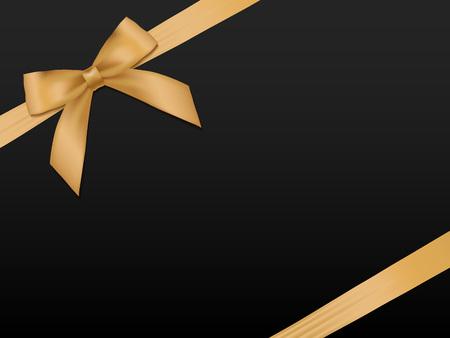 Gouden Boog met linten. Glanzend gouden satijnen lint vakantie op een zwarte achtergrond. Cadeaubon, voucher, kaart sjabloon.