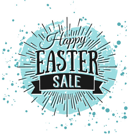 Happy Easter greeting card. Hand Drawn lettering with egg and watercolor splashes. Easter Holidays lettering for invitation, greeting card, prints and posters. Typographic design. Easter Sale Banner.