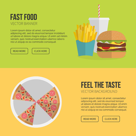 eating lunch: Fast Food Vector Concept. Lunch french fries, chicken, donut, pizza,burger and soda. Flat design cheeseburger, hamburger and other restaurant menu elements. Vector poster of unhealthy fast food eating