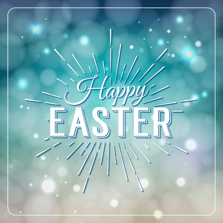 defocus: Happy Easter greeting card. Hand Drawn lettering Design Label on defocus background. Easter Holidays lettering for invitation, greeting card, prints and posters. Easter Sale Typographic Banner. Illustration
