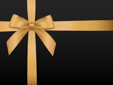Del arco del oro con las cintas. fiesta de la cinta de satén oro brillante sobre fondo negro. cupón de regalo, vales, plantilla de la tarjeta. Ilustración del vector.