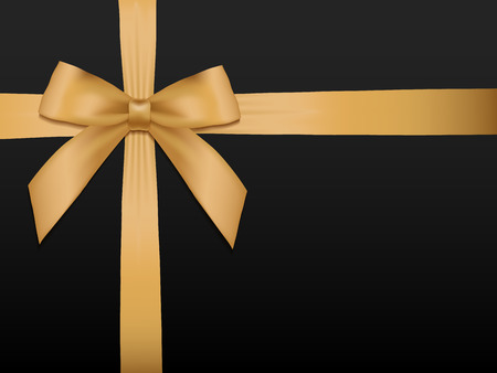 Gold Bow with ribbons. Shiny holiday gold satin ribbon on black background. Gift coupon, voucher, card template. Vector illustration. Zdjęcie Seryjne - 51871099