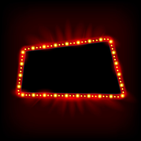 blank signs: Retro light banner. Vector glowing theater cinema Sign. Retro red shining light billboard