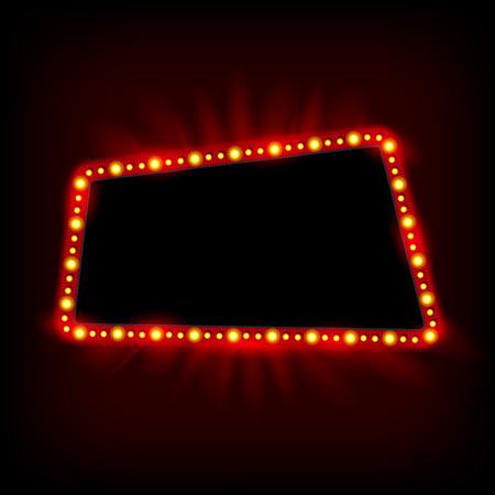 illuminated: Retro light banner. Vector glowing theater cinema Sign. Retro red shining light billboard
