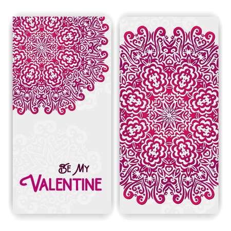 wedding celebration: Valentines day card template. Lacy romantic indian style invitation. Happy Valentines day lettering. Abstract circle floral ornament. Good for birthday invitation or baby shower. Ethnic design