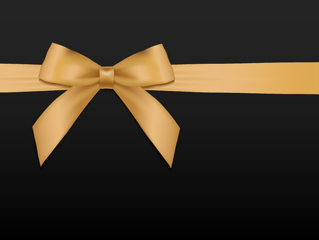 black satin: Gold Bow with ribbons. Shiny holiday gold satin ribbon on black background. Gift coupon, voucher, card template. Vector illustration.