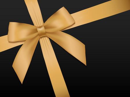 Gouden Boog met linten. Glanzend gouden satijnen lint vakantie op een zwarte achtergrond. Cadeaubon, voucher, kaart sjabloon. Vector illustratie.