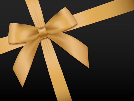 Gold Bow with ribbons. Shiny holiday gold satin ribbon on black background. Gift coupon, voucher, card template. Vector illustration.