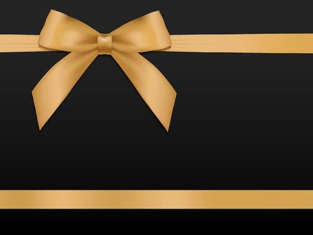 Złoty łuk ze wstążkami. Błyszczące złote wstążki satynowe wakacje na czarnym tle. Kupon na prezent, kupon, szablon karty. Ilustracji wektorowych.