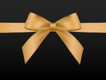 Or Bow avec des rubans. Shiny vacances ruban de satin d'or sur fond noir. coupon cadeau, bon, modèle de carte. Vector illustration. Banque d'images - 51871170