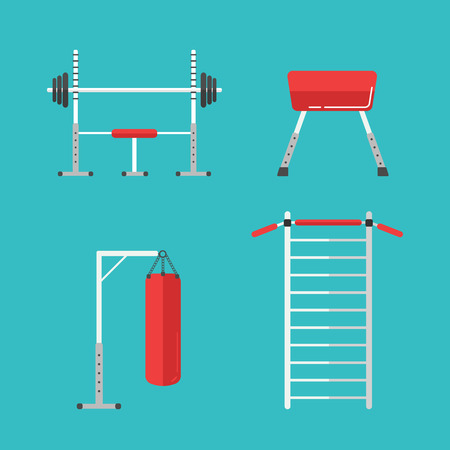 sports training: Set of flat sports equipment icons for gym training, bodybuilding and active lifestyle, fitness elements isolated on background. Vector Barbell, dumbbell, punching bag for boxing, swedish wall bar Illustration
